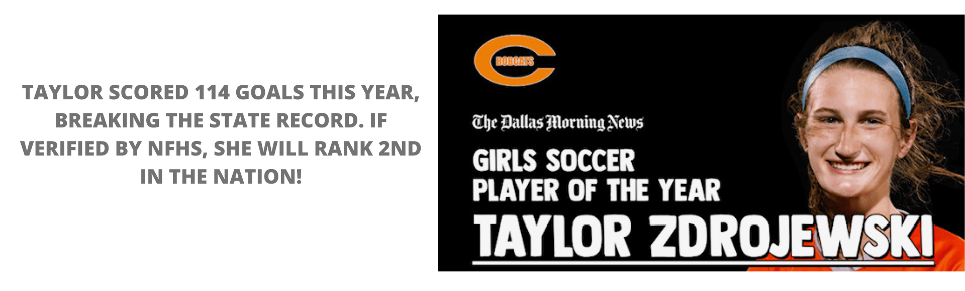 Dallas Morning News Female Soccer Player of the Year!